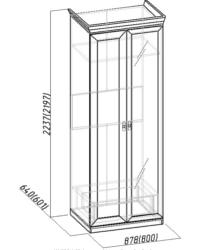 Montpellier Шкаф для одежды 2 с зеркалом 864х633х2252