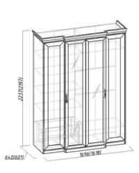 Montpellier Шкаф для одежды и белья 1 1684х560-633х2252